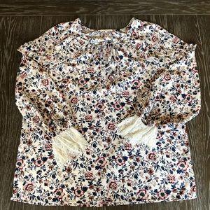 Pleione Floral Blouse Ruffles Lace Cuffs